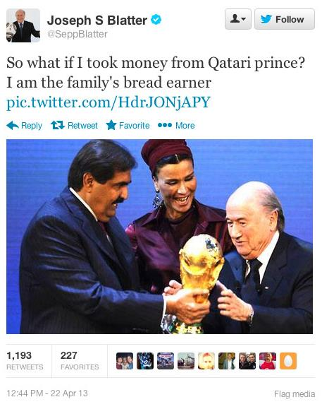 Sepp Blatter hacked tweet