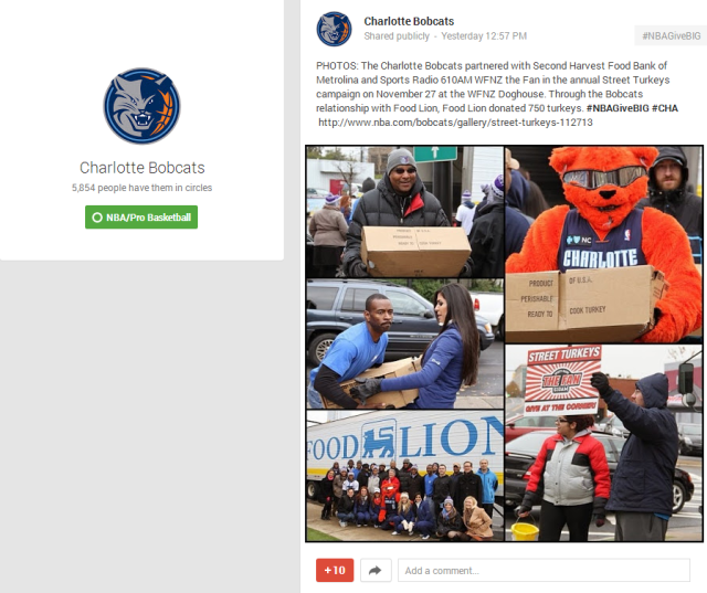 Charlotte Bobcats   Google    PHOTOS  The Charlotte Bobcats partnered with Second Harvest…